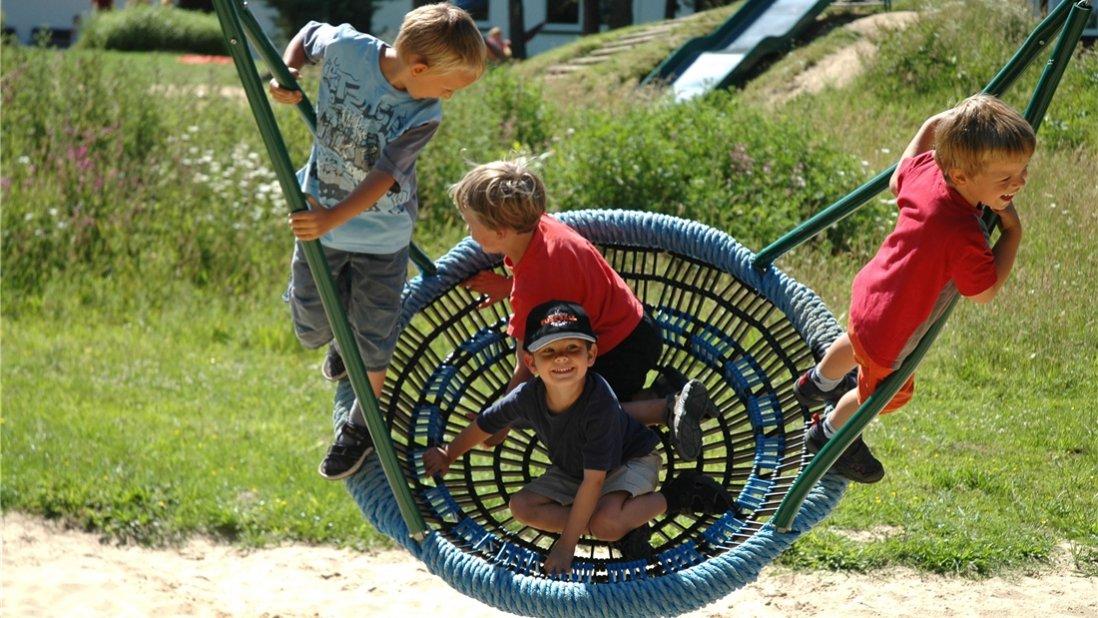 Vier Jungen schaukeln ausgelassen auf einer Nestschaukel