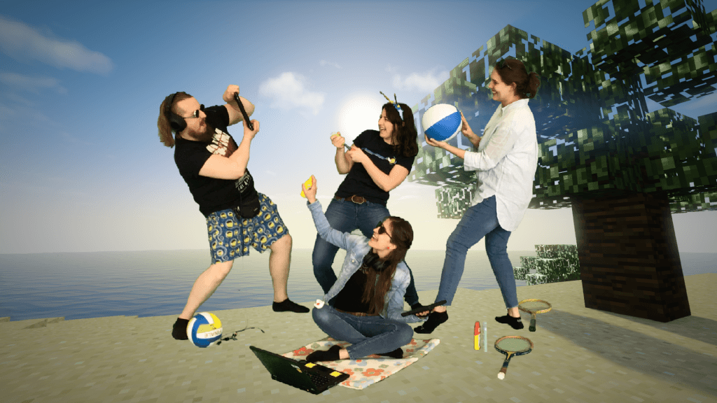 Vier Erwachsene spielen Ferienspiele